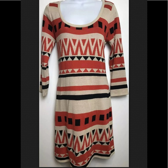 Flying Tomato Dresses & Skirts - FLYING TOMATO Sweater Dress Aztec Red Boho Scoop